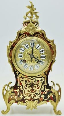 Superb Antique 19thc French 8 Day Red Shell & Brass Inlaid Boulle Mantel Clock