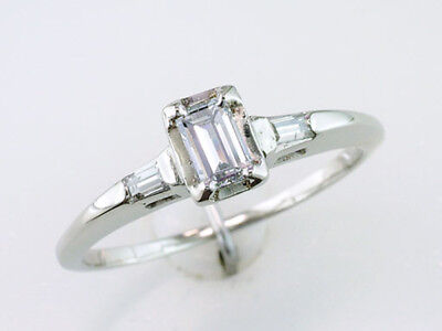 Vintage Antique GIA Certified .40ct Diamond 14K White Gold Art Deco Engagement R