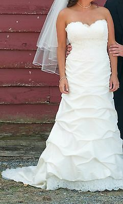 Paloma Blanca wedding gown dress alencon lace and silk shantung sz 14 to 10