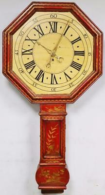Rare Antique C1770 Red Lacquered Chinoiserie 8 Day Tavern Drop Trunk Wall Clock