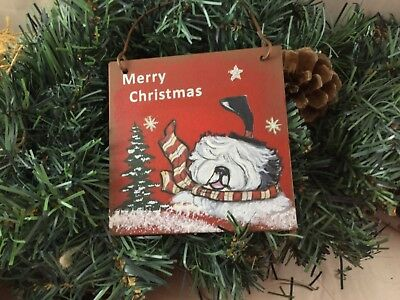 hand painted Old English sheepdog metal ornament