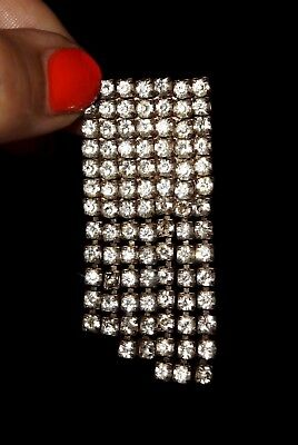 ANTIQUE 30's ART DECO CZECH CLEAR RHINESTONES SQUARE BROOCH  w DANGLES