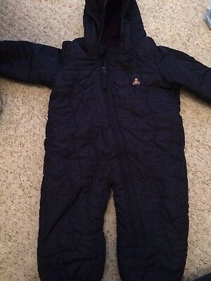 Quilted All In One Snowsuit Winter Coat Navy Blue Baby Boy 0-3 Months Baby Gap