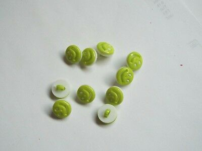 10pc 13mm Lime Green Smiley Face Kids Baby Children Loop Back Button 1556
