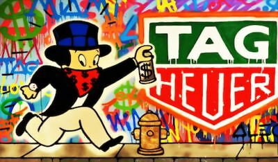 Alec Monopoly oil Painting on Canvas graffiti art Richie Rich Tag Heuer 28x36""