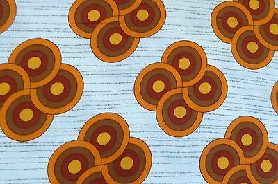 Vintage 1970s Abstract Orange and Brown Circles 51 x 42cm