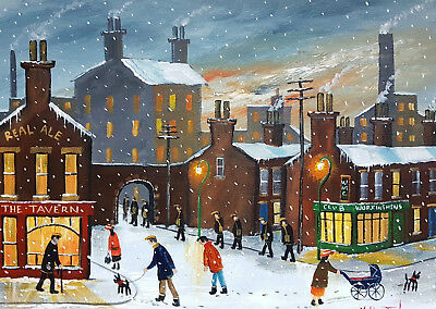 """Mal..burton Original Art Oil Painting   """" Lets Call For A Beer Boy - Winter Snow"""