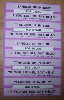 """5 Bob Dylan Tangled Up In Blue Jukebox Title Strip  7"""" 45RPM Records"""