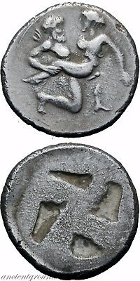 Ancient Greek Diobol Silver Drachm Coin Thasos 463 Bc