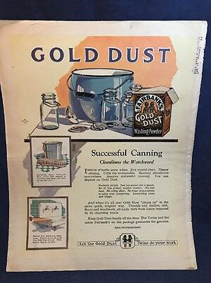 1922 10x13 GOLD DUST Ad Washing Powder Twins Advertisement COLOR Soft Seco Silk