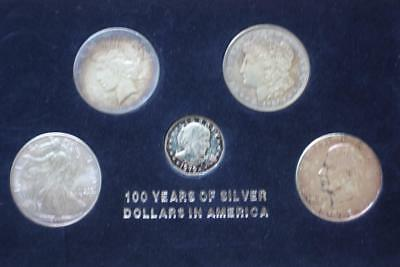 100 Years Of Silver Dollars In America 5 Coins Set Morgan Peace Liberty Ike ..