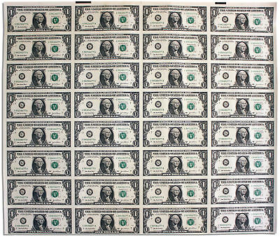 Uncut Sheet of 32 $1 Federal Reserve Notes Series 2003A
