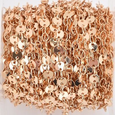 3ft LIGHT GOLD DISC Cable Link Chain, 4mm Sequin Charm Brass Chain, FCH0789a