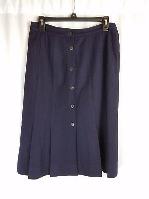 """Vintage Finity Navy Wool Blend Lined Button Front 26"""" A-Line Skirt Sz 14 #c391"""