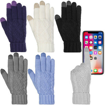 Warm Cute Cable Knit Winter Womens Touchscreen Texting Gloves Soft Fleece Lining