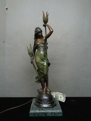 Antique Bronze Auguste MOREAU Aurore Figurial Table LAMP Art Nouveau 19th C NR!
