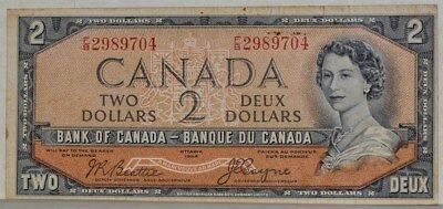 67b $2 Two Dollars 1954 Canada Bank of Canada XF Devil's Hair