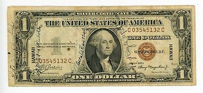Fr. 2300 $1 1935-A One Dollar Silver Certificate Hawaii Overprint Short Snorter