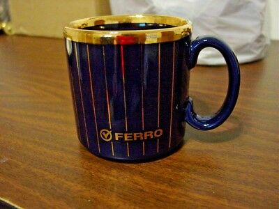 "Ferro Corporation 3 1/2"" Blue and Gold Stripped Ceramic Collectible Mug"