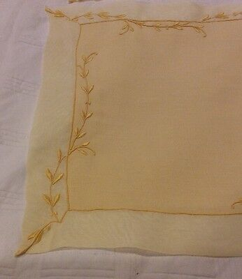 17pc MARGHAB Organdy Placemat/Napkin/Runner Yellow/Gold Trailing Vine FinalPrice