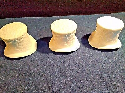 3 Vintage Fenton Milk Glass Embossed Top Hats Adds Class & Character to Events