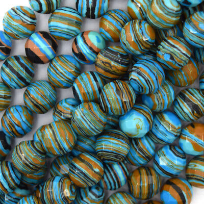 """Faceted Blue Rainbow Calsilica Round Beads 15"""" Strand 4mm 6mm 8mm 10mm 12mm"""