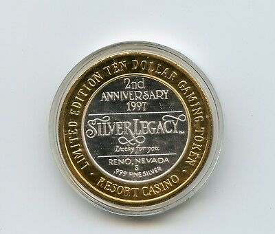 1997 $10 Silver Legacy 2nd Anniversary 999 Fine Silver Gaming Token