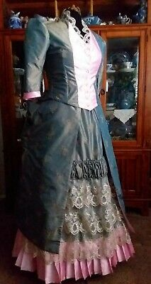 Victorian Ewardian Bustle Gown Dress 2 piece Ensemble