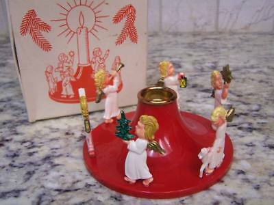 Vintage Christmas Angels Plastic Candle Holder - Made In Germany - Original Box