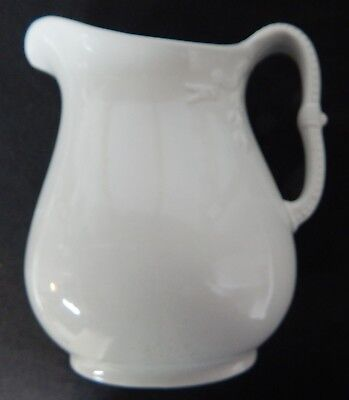 J& G Meakin Ironstone White Milk Pitcher, Beaded/Flowers/Ribbons, Hanley England