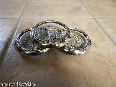 Vtg  Sterling Silver & Heavy Glass 3 Coasters , Star Design