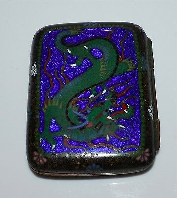 Old or Antique Japanese Cloisonne Dragon Hinged Box Card Case Cigarette Case