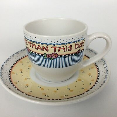 Mary Engelbreit Cup and Saucer Set Nothing Is Worth More Than This Day Tea Cup
