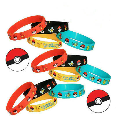 New 4PCS Pokemon Go Pikach Wristband Silicone Bracelet Party Gifts Bangle Chic