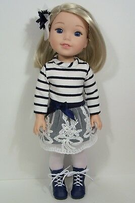 """2pc NAVY BLUE WHITE Dress Doll Clothes For 14"""" AG Wellie Wisher Wishers (Debs)"""