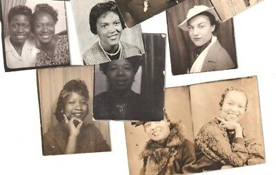 14 attractive African American  WOWEN vintage antique photo BOOTH SMALL