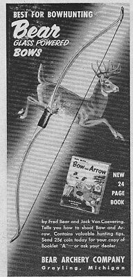 Vintage 1953 BEAR ARCHERY CO., Bowhunting Glass Powered Bows ad ~ Grayling, MI