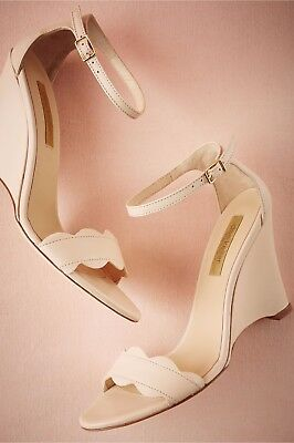 New $270 BHLDN Dee Keller Wedge Formal Nude Leather Wedding Shoes Size 37 6.5