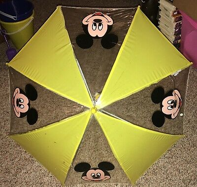 Disney Umbrella Mickey Mouse Kids Handle Yellow Shaw 100% Vinyl Vintage Rare