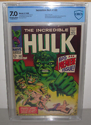 Marvel INCREDIBLE HULK # 102 Pub. APR 1968 CBCS GRADED 7.0 Off-White/White Pages