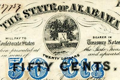 HGR FRIDAY 1863 .50c Confederate ((State of Alabama)) Appears NEAR UNCIRCULATED