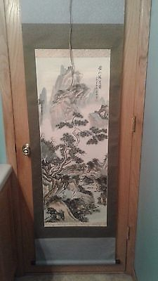 Vintage Antique Hand Painted & Signed Japanese Scroll - 72 inches
