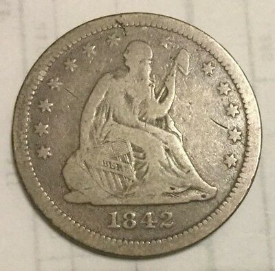 1842-O 25C Large Date Liberty Seated Quarter - Rare only 769k Minted