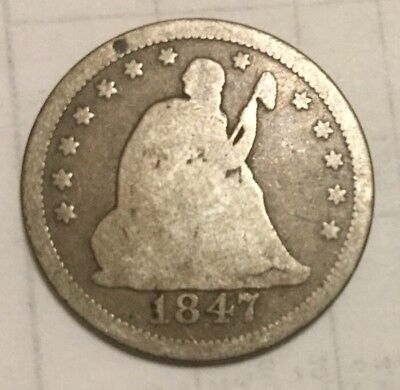 1847 25c Liberty Seated Quarter - Rare - Only 734k Minted