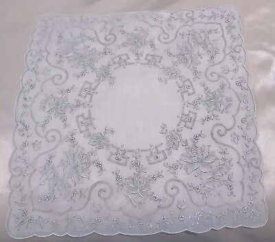Vintage Madeira Hankie Bridal Hand Embroidery Drawn Work White 12 Inch
