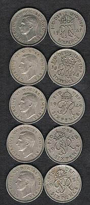 ANY 6 COINS FROM 1948-1951  George VI British Wedding Sixpence Coins