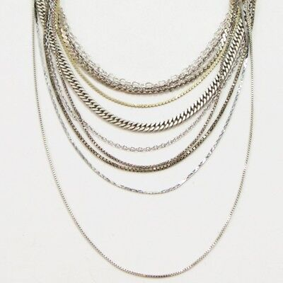 Sterling Silver - Lot of 10 Rope Link Chain Necklaces NOT SCRAP - 46g