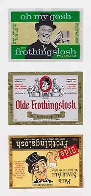 THREE Un-Used 1950s OLDE FROTHINGSLOSH beer labels from Pennsylvania PA! (a)