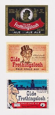 THREE Un-Used 1950s OLDE FROTHINGSLOSH beer labels from Pennsylvania PA! (b)