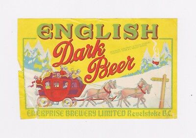 1940s ENGLISH DARK BEER label from CANADA!